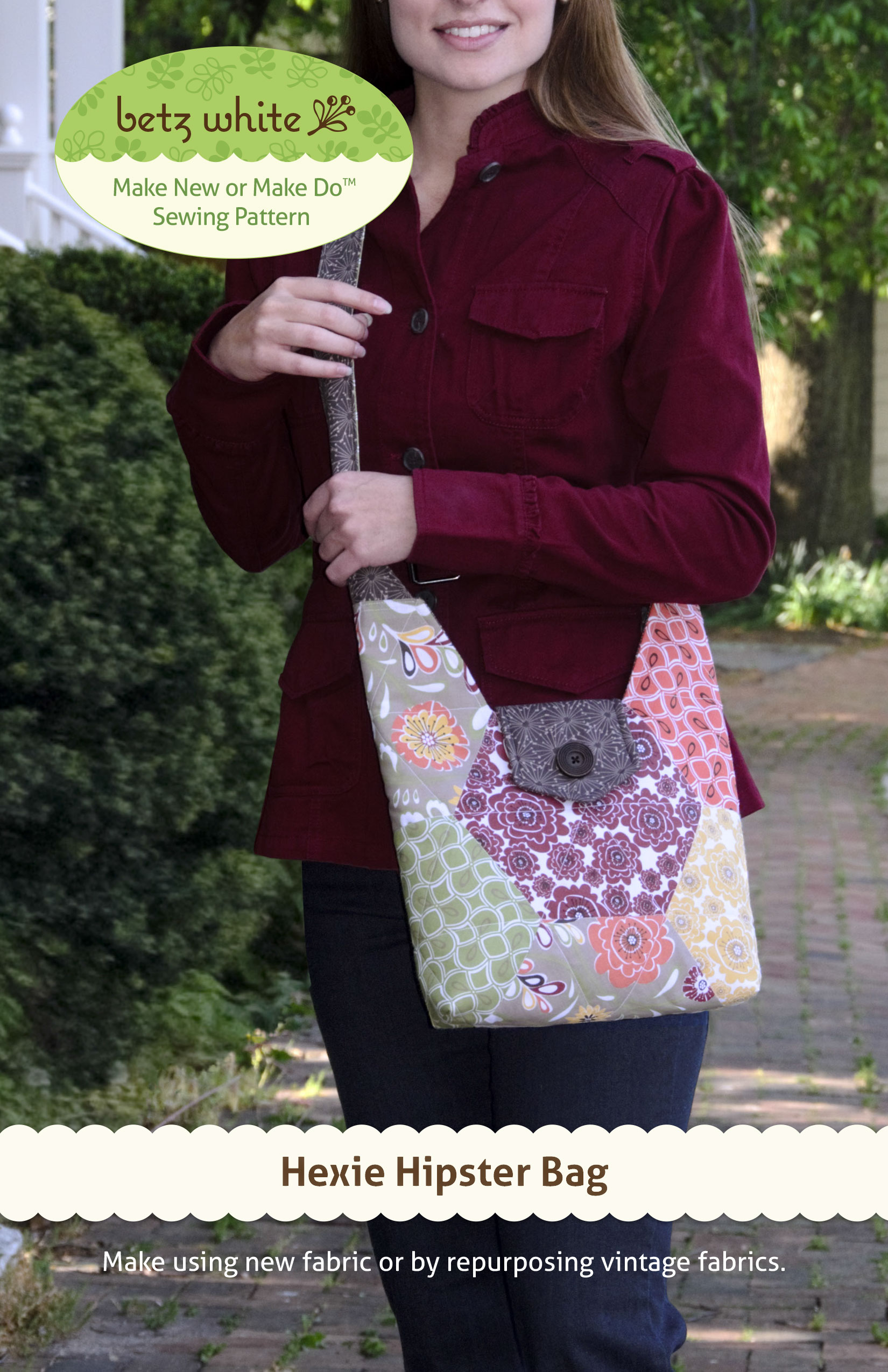 hexie hipster bag sewing pattern betz white