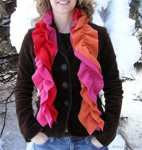 betz white pink/orange cashmere scarf
