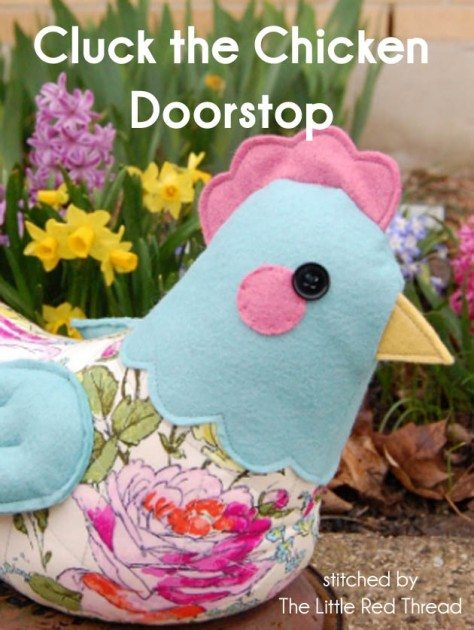 Cluck the chicken with the little red thread sewing collective betz white - Chicken doorstops ...