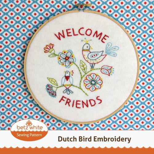 Dutch Bird Embroidery Pattern by Betz White