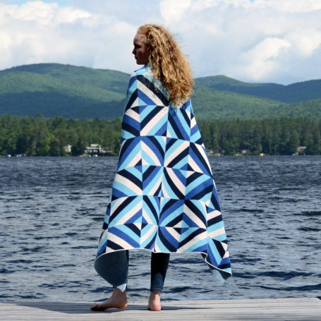 BWSK eco throw patchwork blues