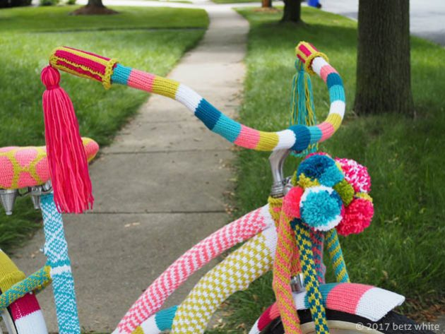 betz white yarn bomb close up