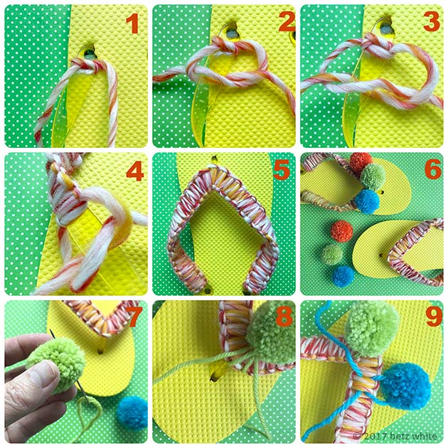 Pompom flipflop tutorial collage by Betz White