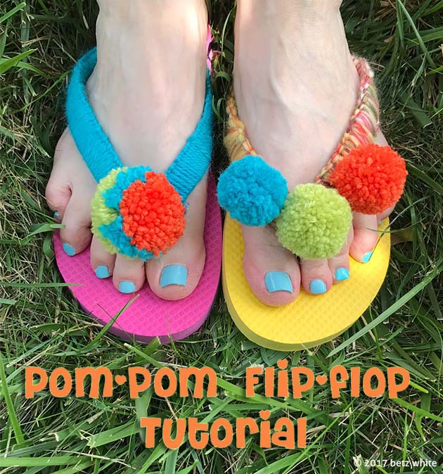 Pompom Flipflop tutorial by Betz White
