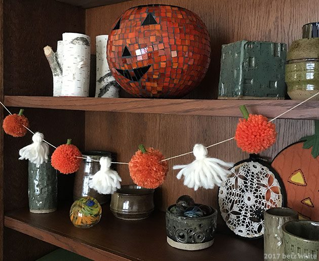Betz White Pompom Pumpkin Tutorial finished shelf