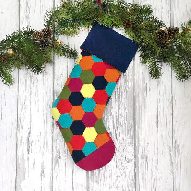 betz white wool hexie christmas stocking