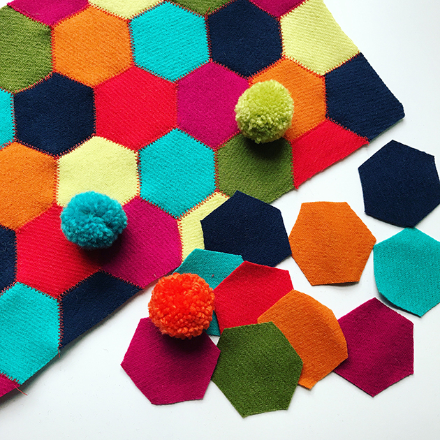 Betz White Wool Hexies and poms