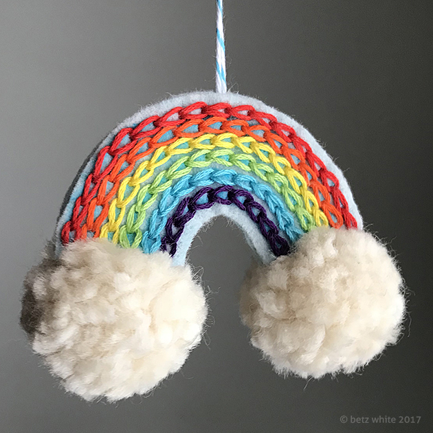 Betz White Rainbow Ornament Tutorial with pompoms