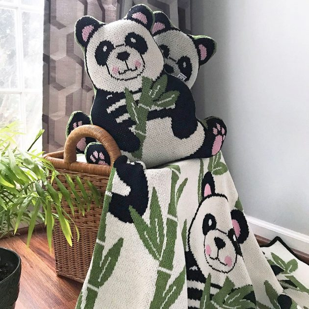 Betz White Studio Knits Panda Mascot and throw