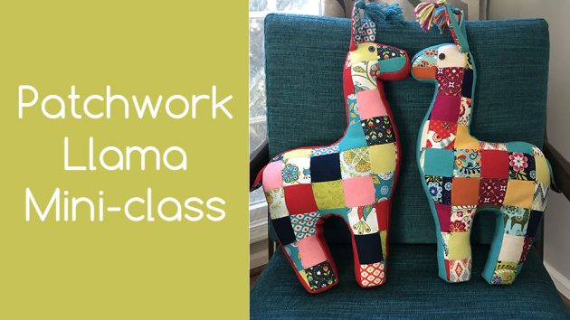 stuffed patchwork llama pillow