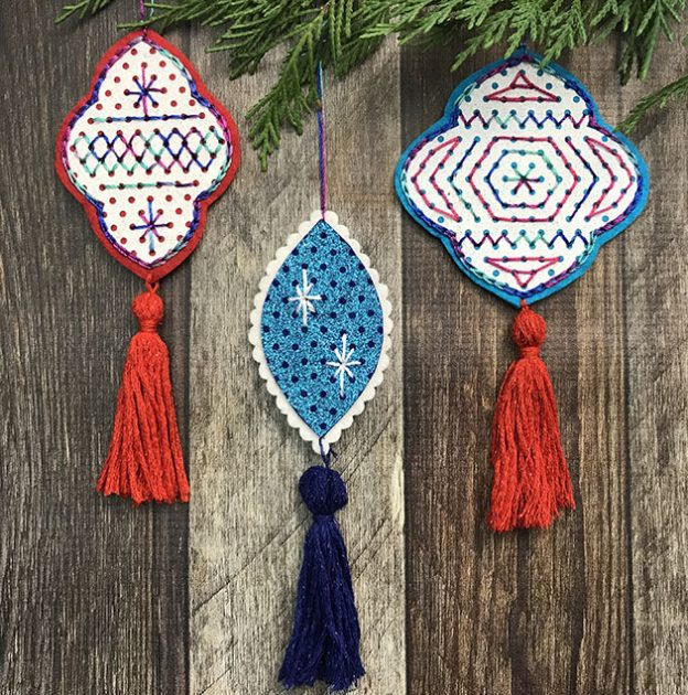 Stitched Glitter Felt Ornaments by Betz White