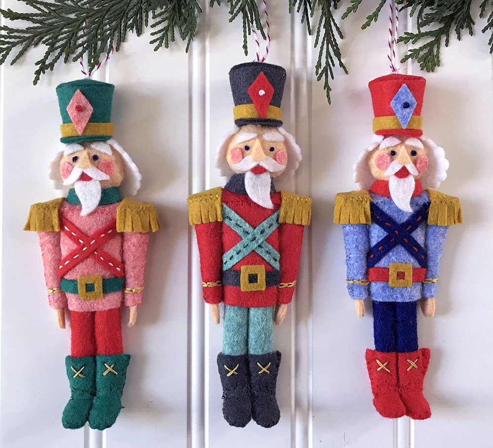 3 Nutcracker felt ornaments Betz White