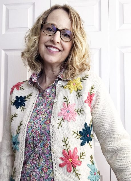 Vintage look embroidered sweater
