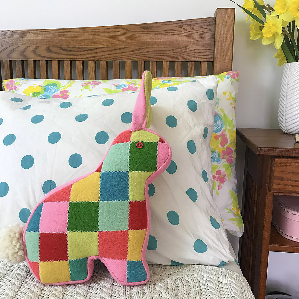 patchwork bunny pillow by Betz White