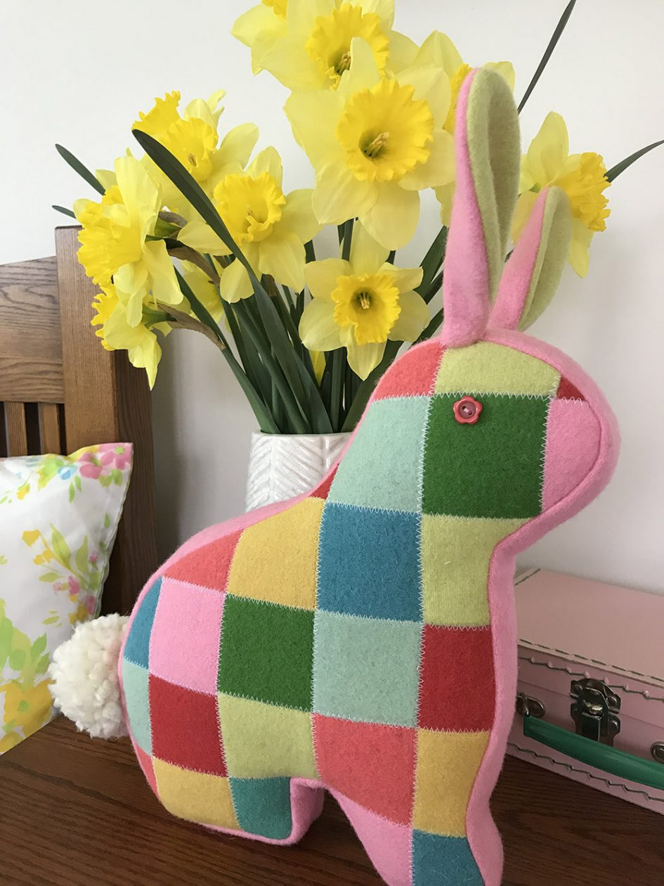 Patchwork Bunny in colorful wool