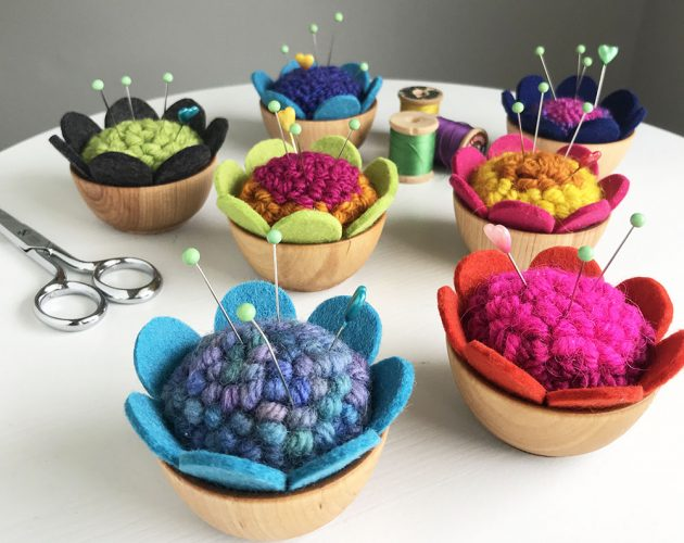 punch needled pincushions by betz white