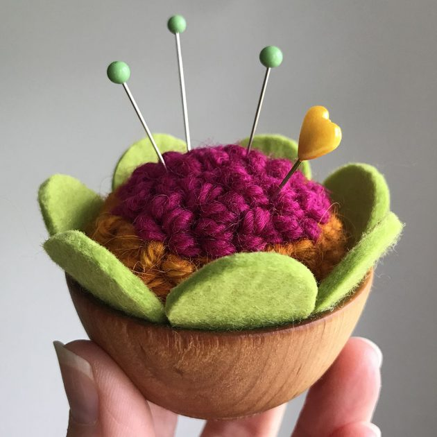punch needled pincushion with felt petals by betz white