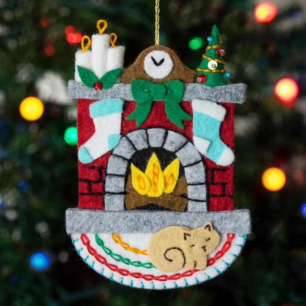 holiday-hearth-felt ornament by betz white