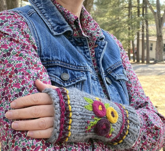 embroidered rosette wrist warmers