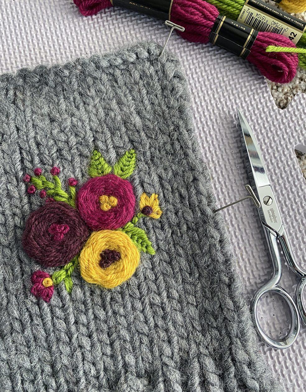 embroidered wrist warmer wet blocking