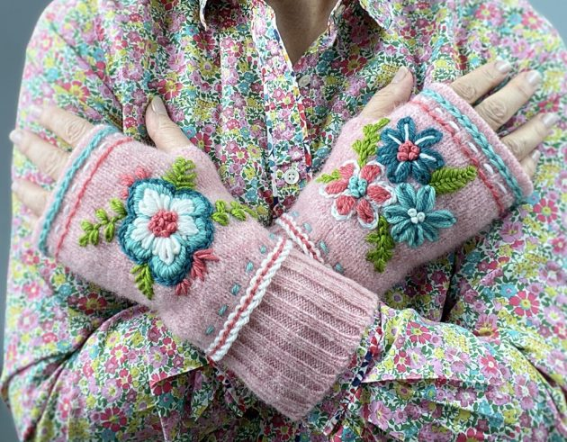 Embroidered Felted Wool Wrist Warmers Class