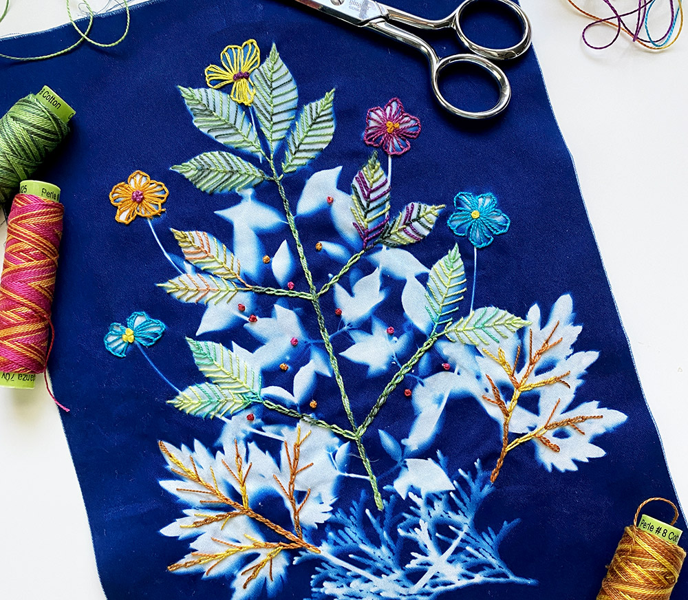 embroidered cyanotype on fabric
