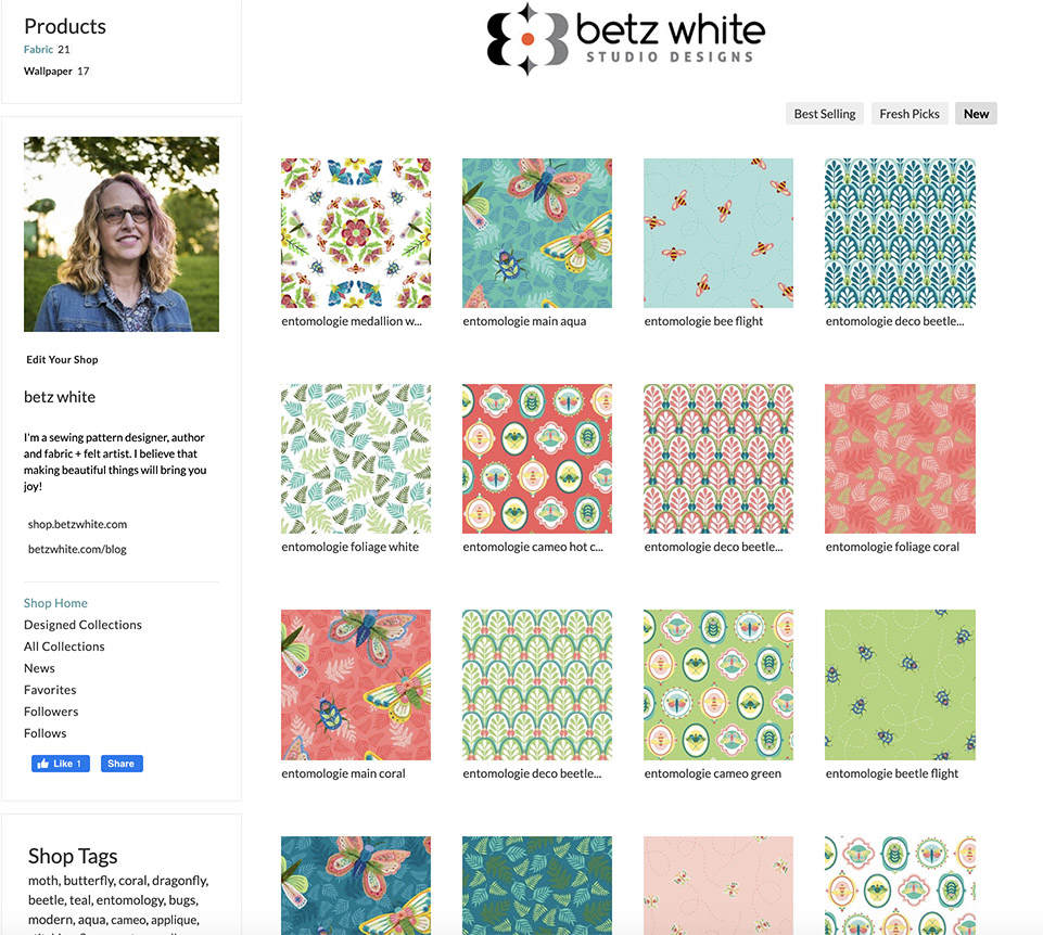 Spoonflower shop home page