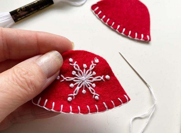 snowflake embroidery on felt