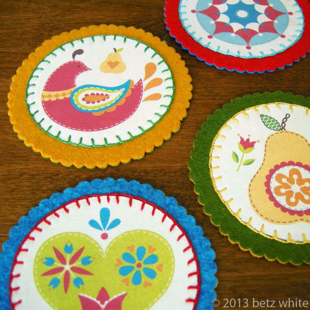 Felt And Fabric Coaster Tutorial Betz White