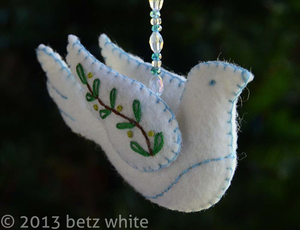 Holiday Stitch Along Ornament 1 Peace Dove Betz White