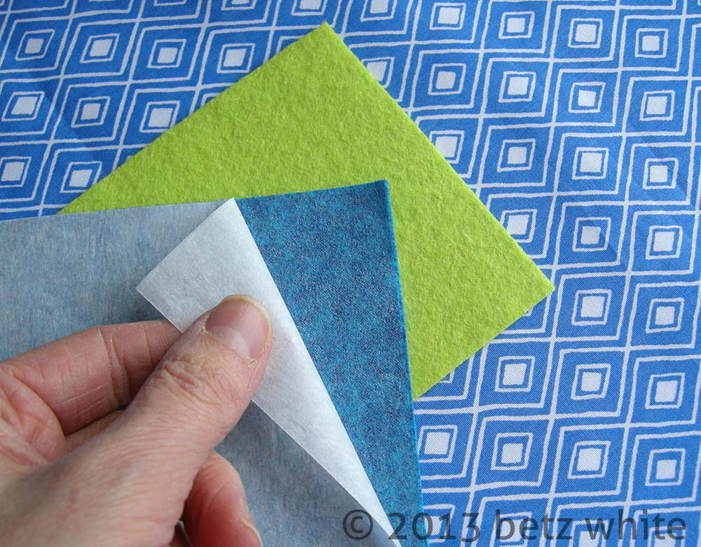 Felt lore part 5 biz card caddy tutorial betz white next following the manufacturers directions fuse the webbing onto the back of one of the felt rectangles and peel away the paper backing colourmoves Image collections